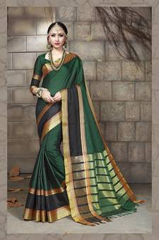 dba3f372b4 Green Colour Cotton Sarees Online   Buy fashionable Green Cotton ...