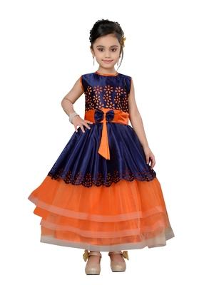 Orange plain net kids gown