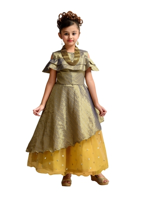 Green printed satin kids gown