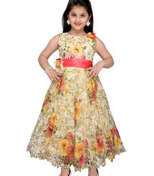 Yellow printed net kids gown