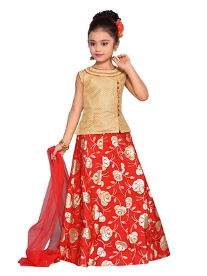 Gold printed brocade kids lehenga choli