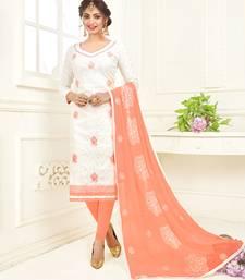 White resham embroidery jacquard salwar