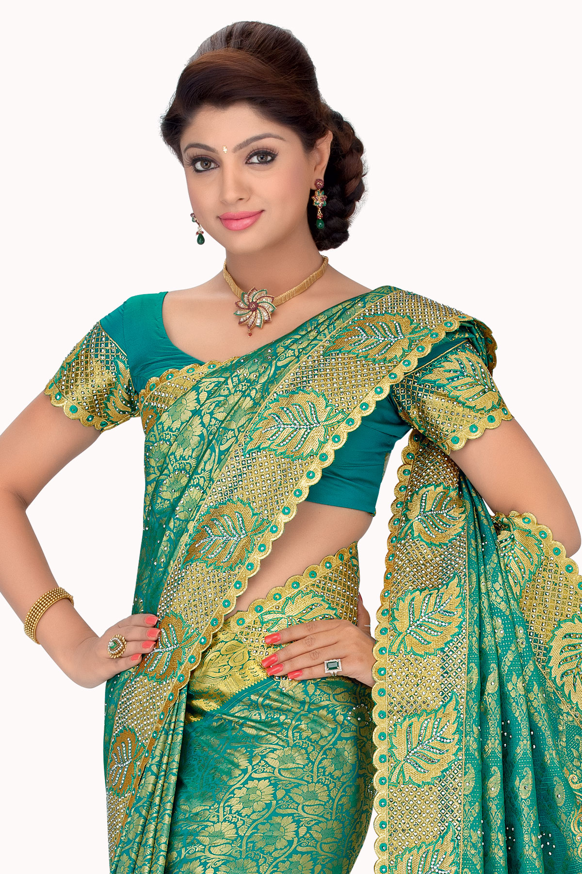 aa64a30da6 sea green embroidered silk saree with blouse - mirraw test - 388315