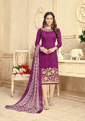 Purple embroidered chanderi salwar with dupatta