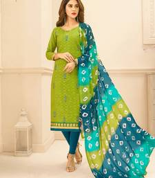 Green  embroidered jacquard kameez with dupatta