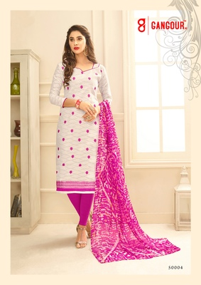 White embroidered jacquard kameez with dupatta