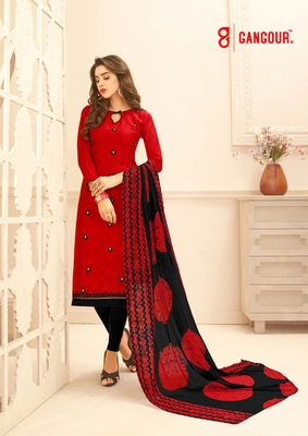 Red Embroidered Jaquard  Kameez  With Dupatta