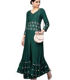 Green printed viscose rayon kurta-sets