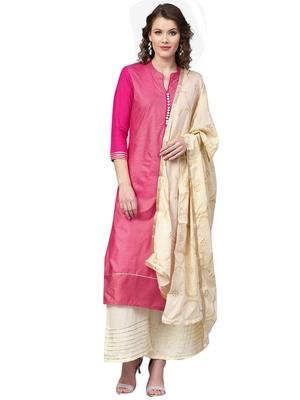 Pink printed viscose rayon kurta-sets