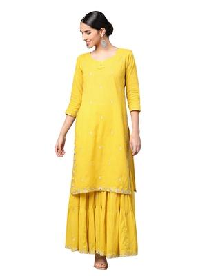 Mustard embroidered cotton kurta-sets