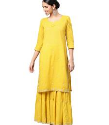 Mustard embroidered cotton kurta-sets