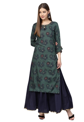 Blue embroidered rayon kurta-sets