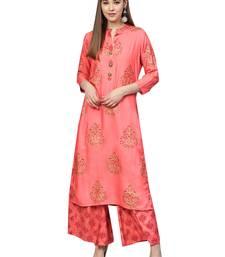 Pink printed rayon kurta-sets