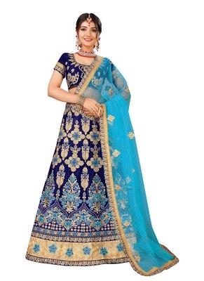 Blue Embroidered Net Semi Stitched Lehenga With Dupatta
