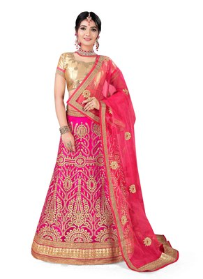 Pink Embroidered Net Semi Stitched Lehenga With Dupatta