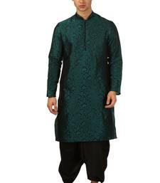 Green Embroidered Art Silk Dhoti Kurta
