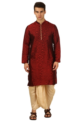Red Embroidered Art Silk Dhoti Kurta