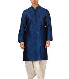 Blue embroidered art silk dhoti-kurta
