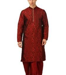 Red Embroidered Art Silk Dhoti Kurta