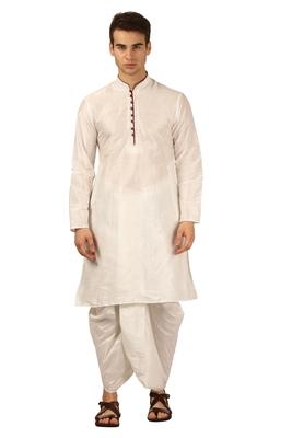 White embroidered art silk dhoti-kurta