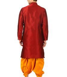 Red embroidered art silk dhoti-kurta