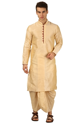 Gold embroidered art silk dhoti-kurta