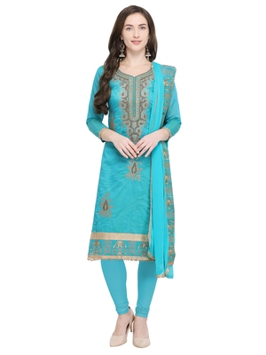 Turquoise Embroidered Chanderi Cotton Dress Material With Handwork
