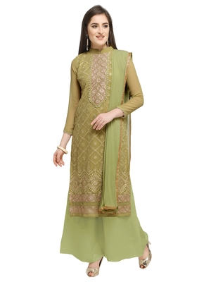 Mahendi Green Georgette Embroidery Work Suit