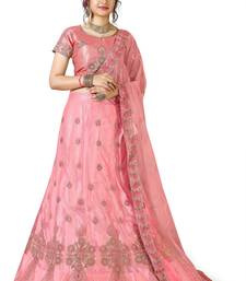 e121fb5092c0b1 Pink embroidered net semi stitched lehenga with dupatta