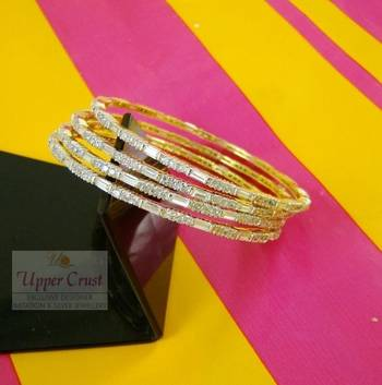 Set of 4 Thin CZ Bangles Size - 2.6