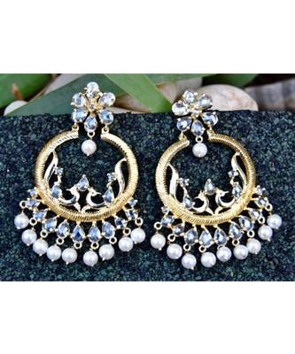 Exquisite Peacock Organic Diamond Chand Bali Earrings