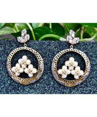 Victorian Pearl Chand Bali Earrings