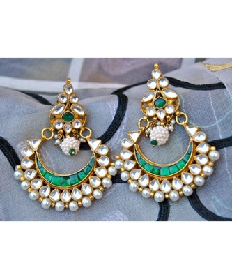 Kundan Emerald Chand Bali Earrings