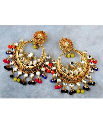 Multicolor Kundan Chand Bali Earrings