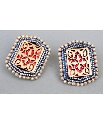 Hexagonal Pearl Rimmed Red Stud Earrings