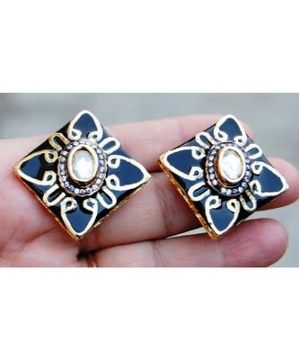 Uncut Diamond Centered Black Enamel Gold Stud Earrings