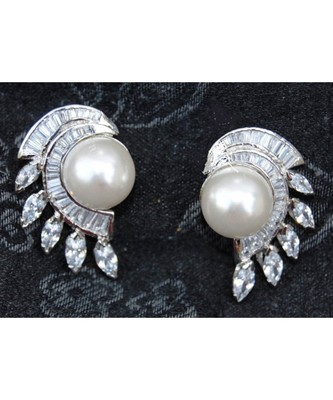 Baguette Diamond Lined Pearl Stud Earrings