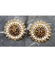 Sapphire and Polki Stud Diamond Earrings