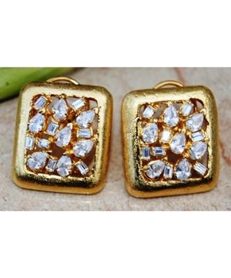Uncut Diamond Gold Framed Earrings