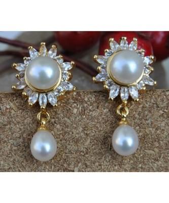 American Diamond Floral Stud Earrings with Pearl Drop
