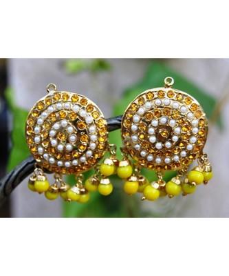 Yellow Aari Gold Pearl Dangler Earrings
