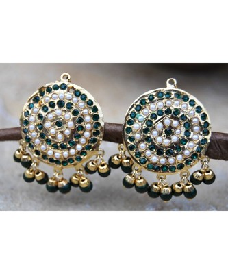 Green Aari Gold Pearl Dangler Earrings