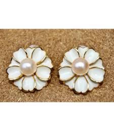 Floral White Enamel Stud Earrings