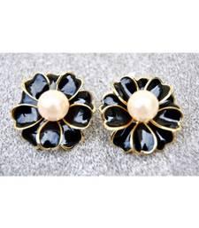 Floral Black Lustre Enamel Stud Earrings