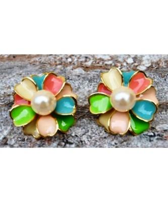 Floral Multicolor Enamel Stud Earrings