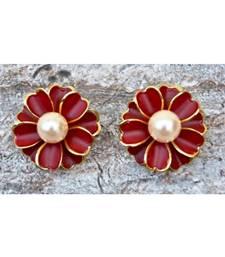 Floral Maroon Enamel Stud Earrings