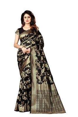 Black woven art silk sarees saree with blouse