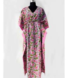 Hippie casual women bollywood style long kaftan block printed Cotton kaftan