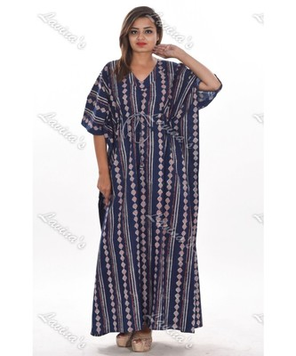 39632f385813d Block printed floral long kaftan hippie boho indian dress evening gown maxi  dress plus size tunic