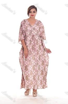 Women Cotton Floral Indian Long Kaftan Hippie Evening Gown Caftan Fashionable Plus Size Tunic